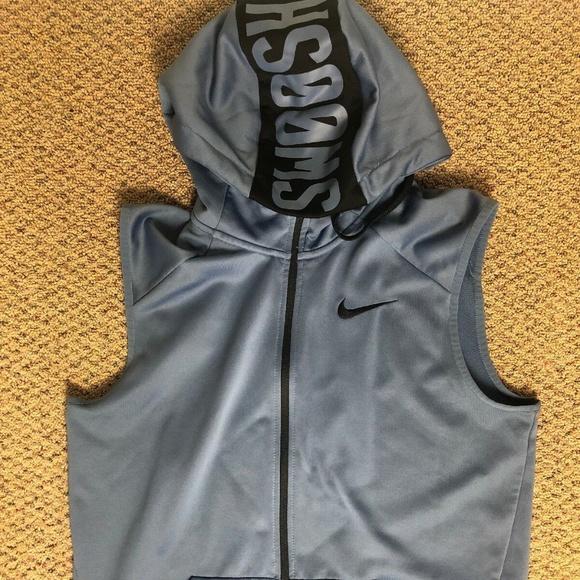 Nike Dri Fit Hoodie Vest Mens Medium M Full Zip Sw